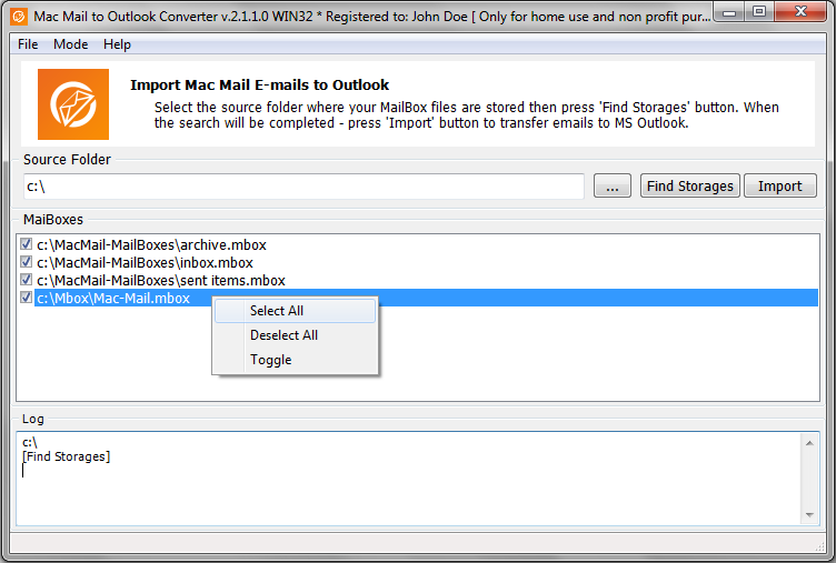 Mac Mail to Outlook Converter » Import Mac OS emails to MS Windows